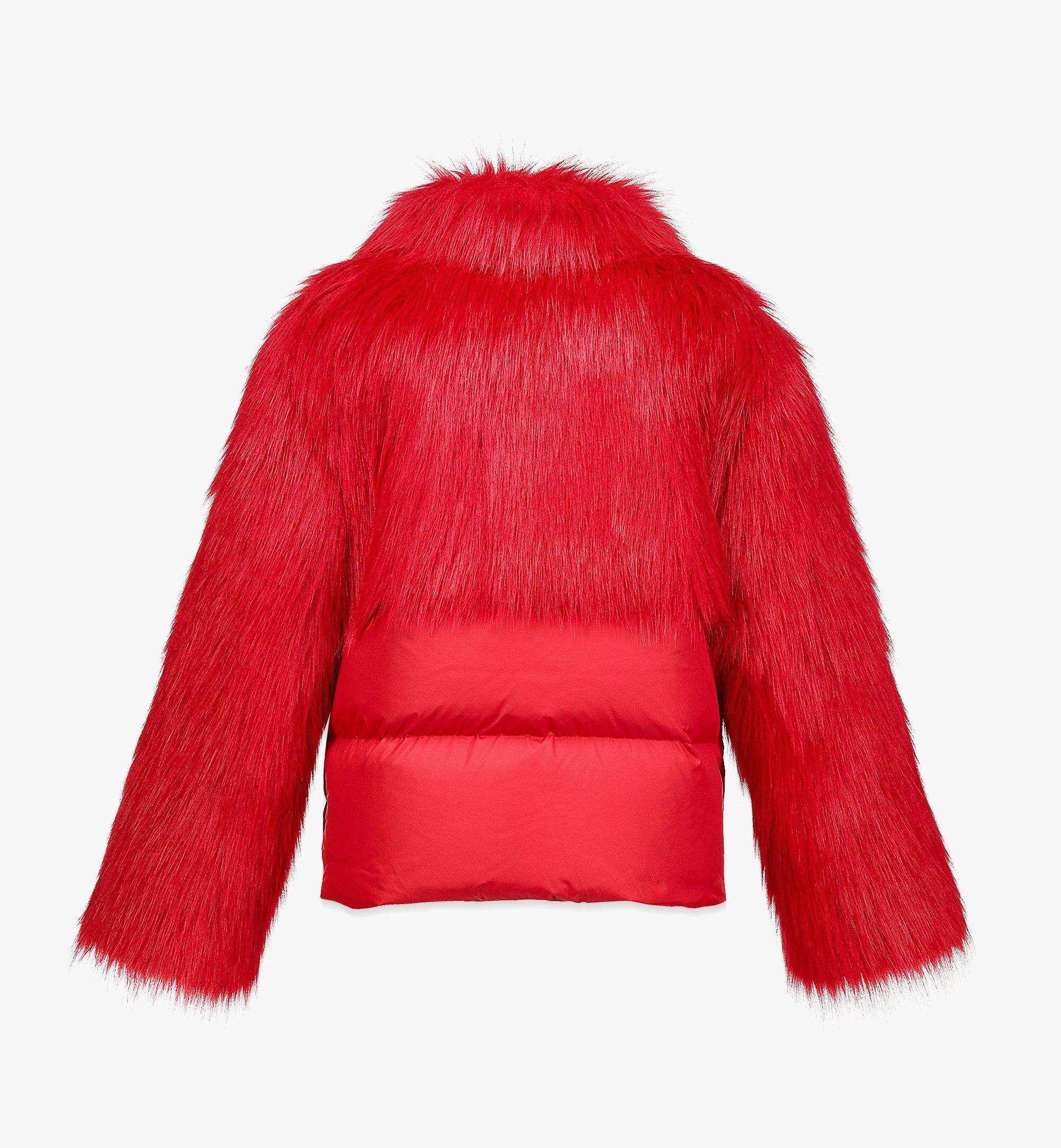 MCM Women's Faux Fur Puffer Jacket Red MFCBAMM02R0040 Alternate View 1