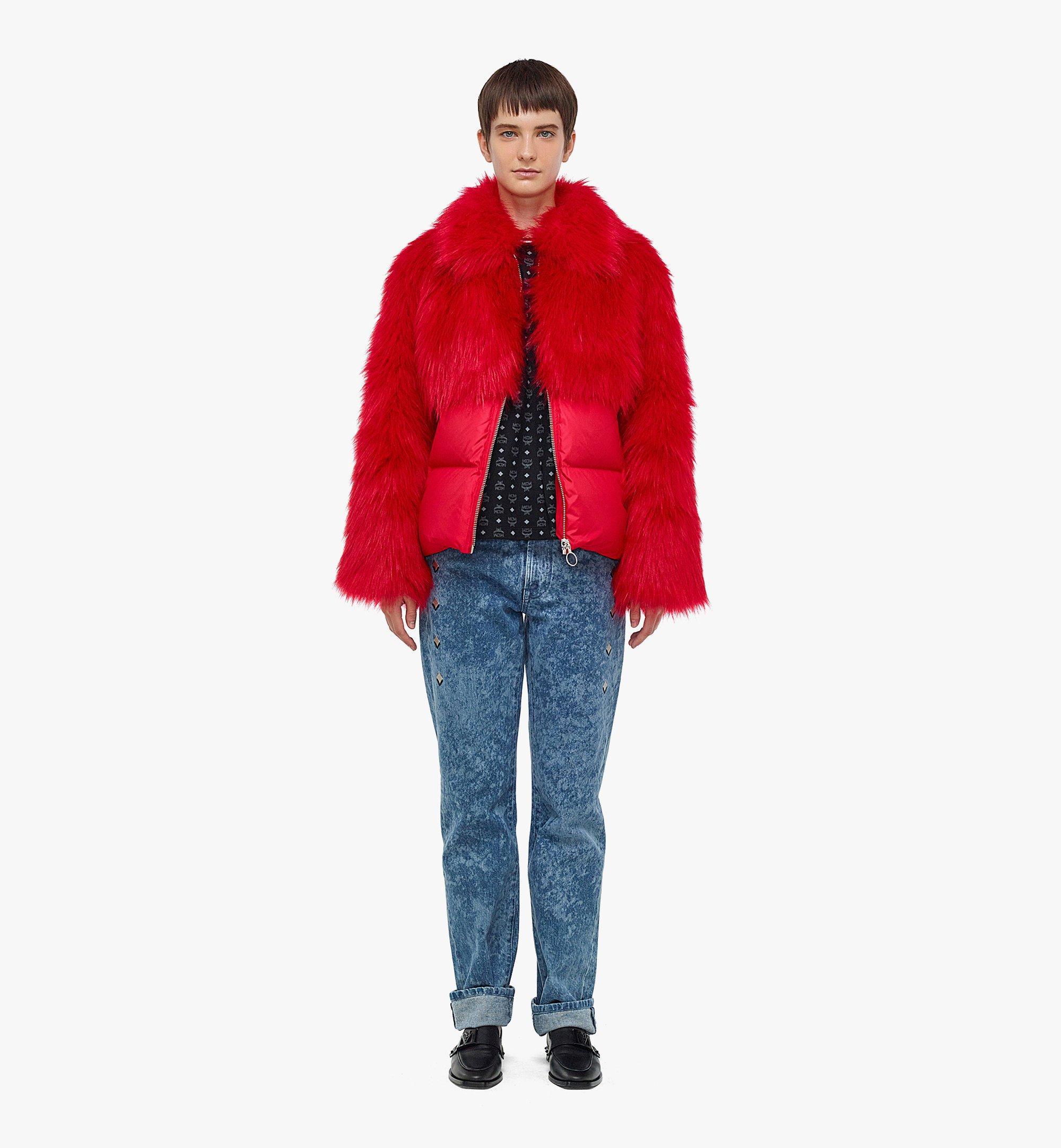 MCM Women's Faux Fur Puffer Jacket Red MFCBAMM02R0040 Alternate View 3