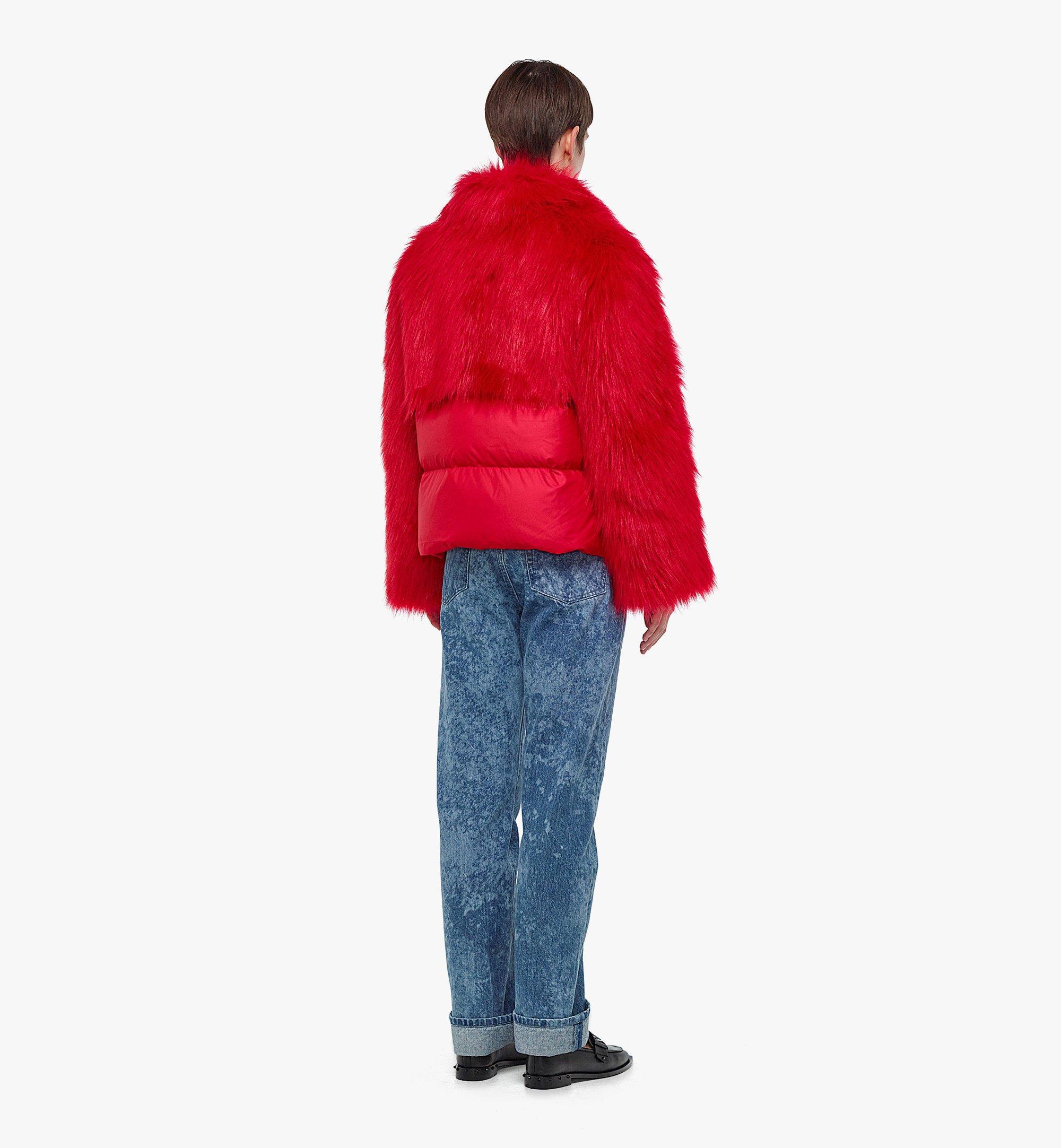 MCM Women's Faux Fur Puffer Jacket Red MFCBAMM02R0040 Alternate View 2