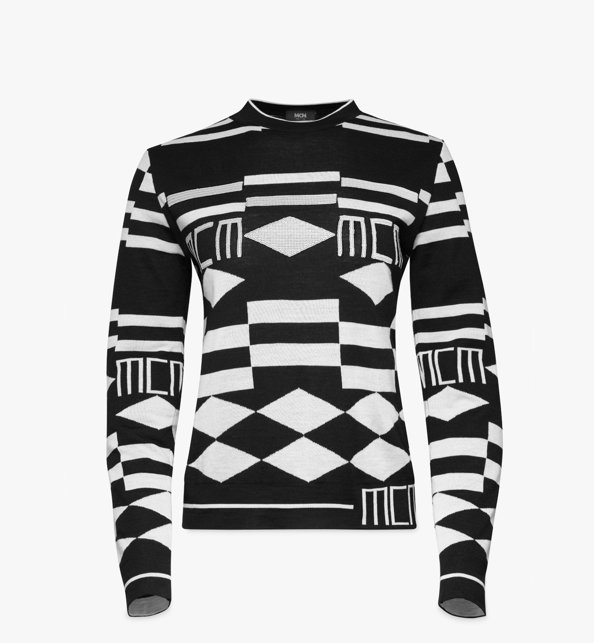 MCM Women's Geo Sequin Wool Sweater Black MFEBSMM02B200L Alternate View 1