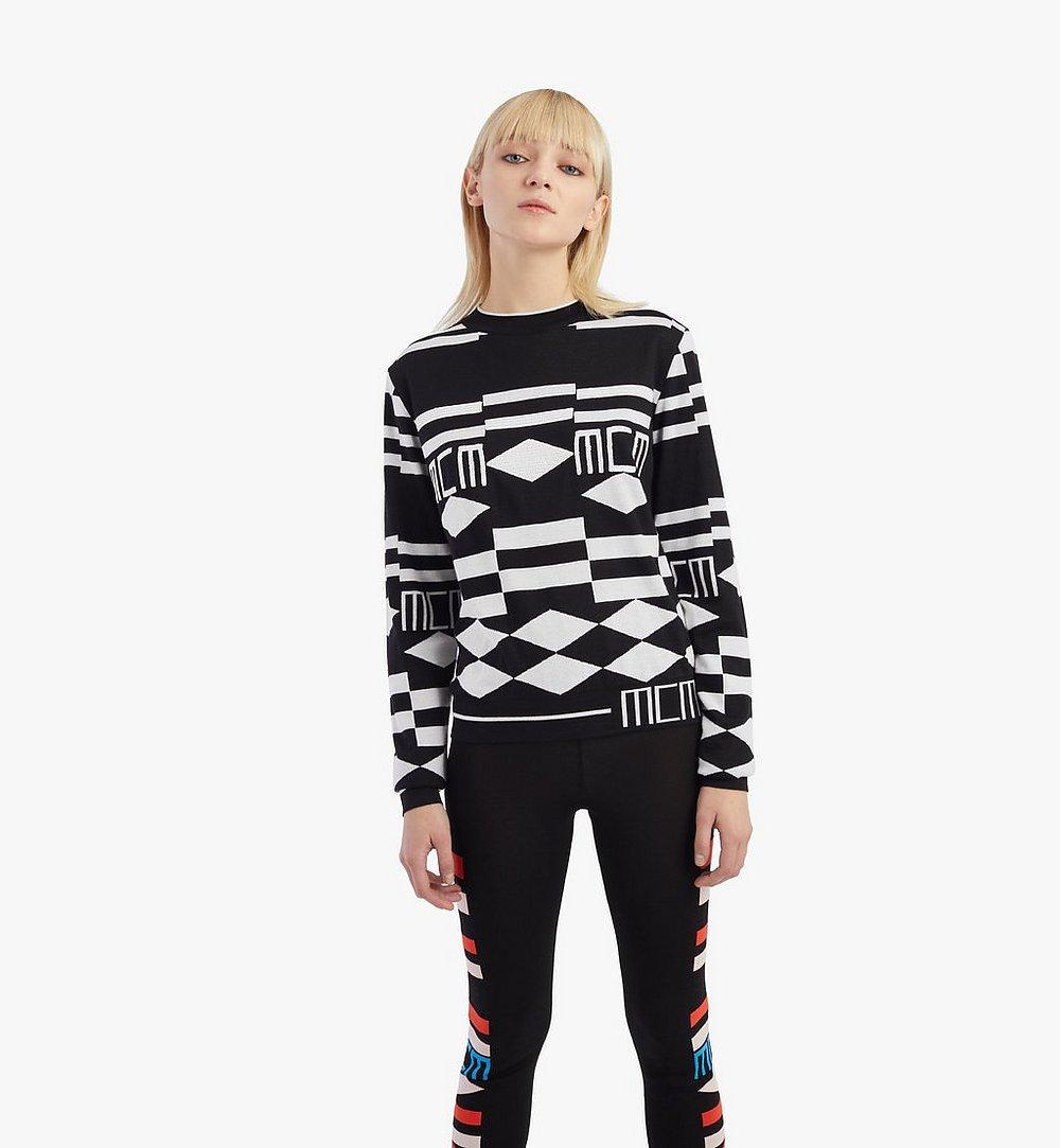 MCM Women's Geo Sequin Wool Sweater Black MFEBSMM02B200S Alternate View 2