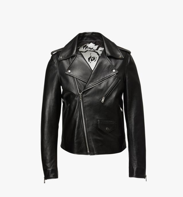 Veste de motard en cuir à logo embossé pour femme