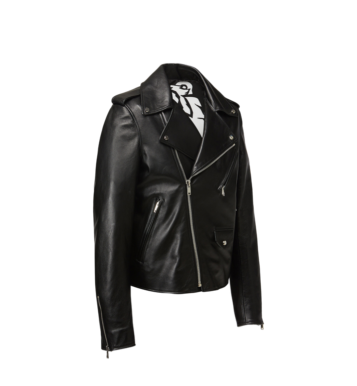 MCM Women's Embossed Logo Leather Rider Jacket Black MFJ8AMM42BK00L Alternate View 2