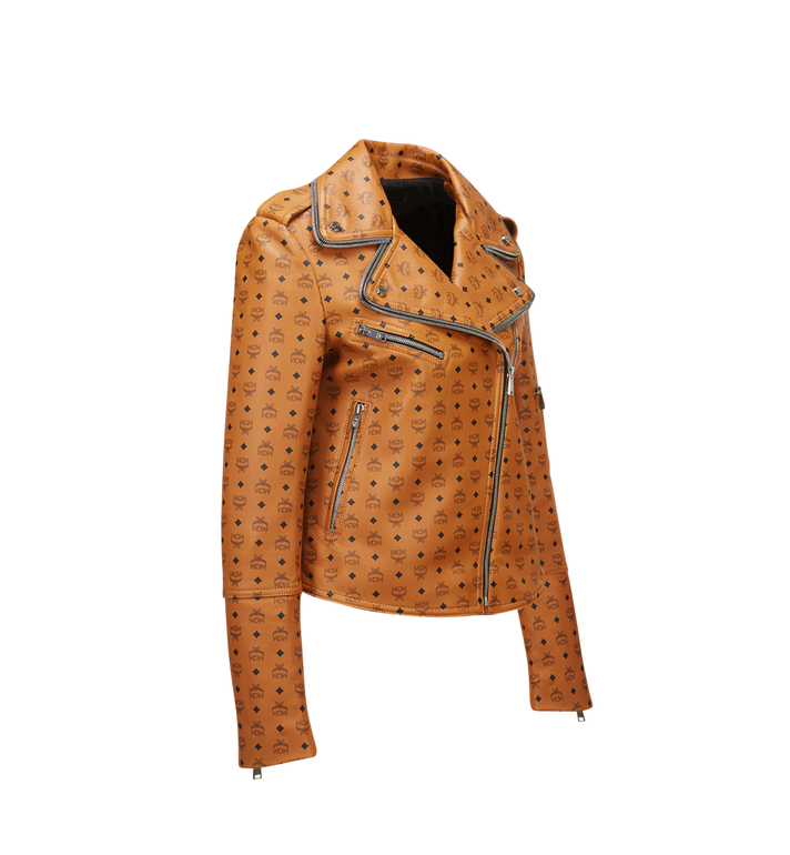 MCM Women's Visetos Print Leather Rider Jacket Cognac MFJ8SMM63CO00S Alternate View 2
