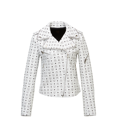 Women's Visetos Print Leather Rider Jacket