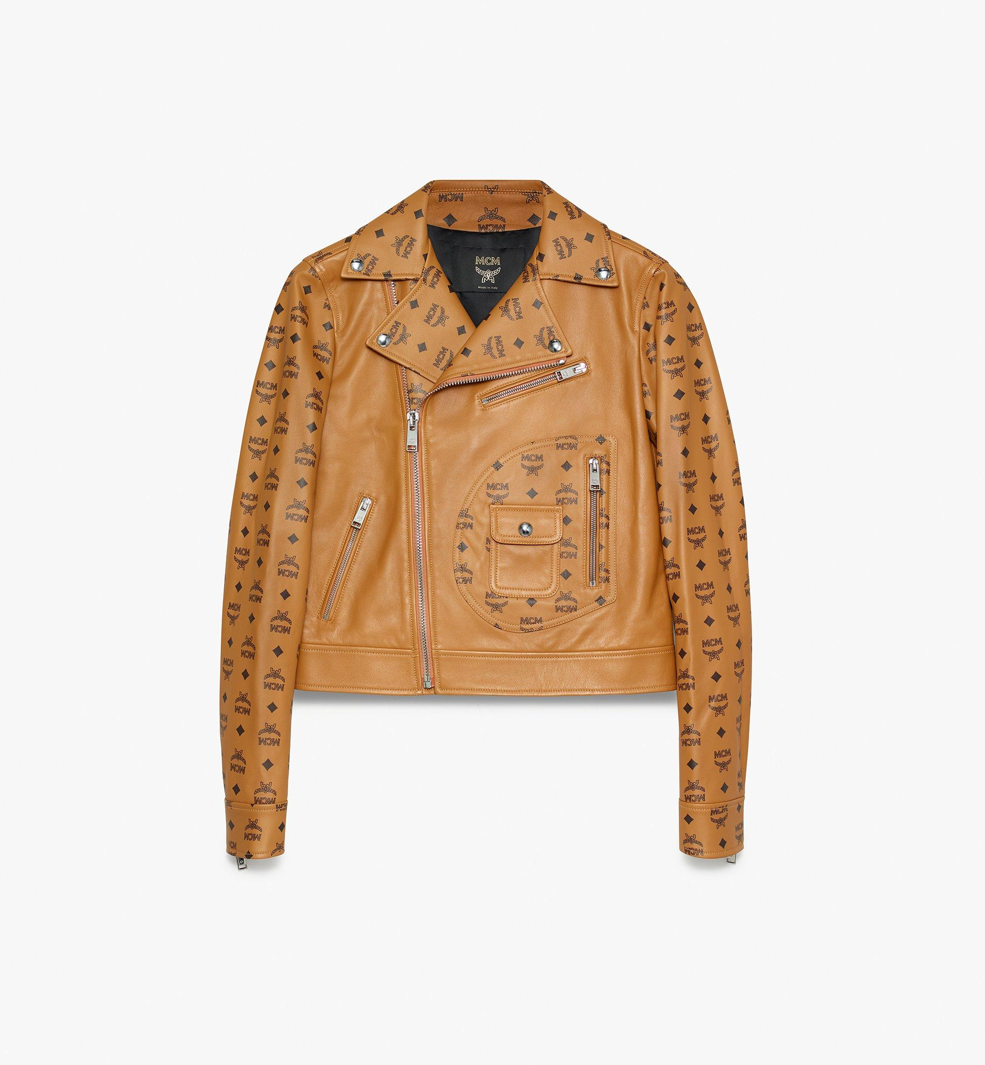 MCM Women's Rider Jacket in Visetos Cognac MFJ9AMM01CO038 Alternate View 1