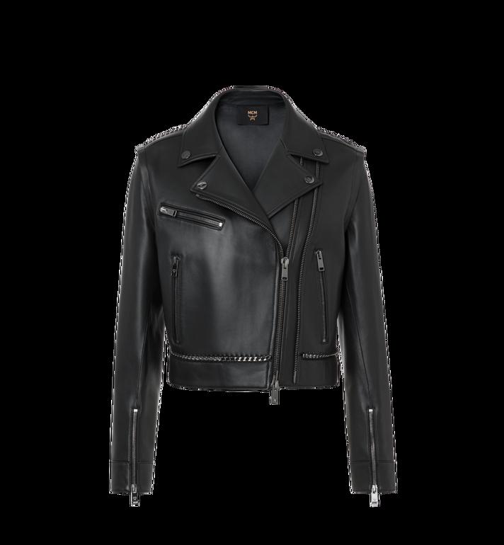 MCM Women's Chain Detail Leather Rider Jacket Alternate View