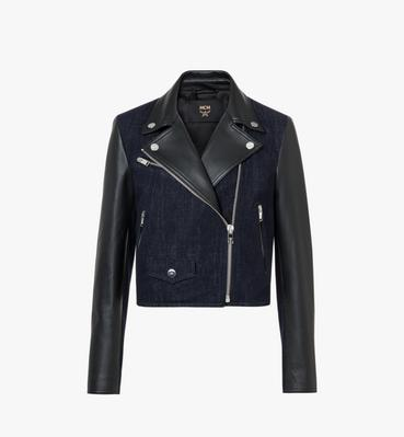 Women's Denim and Leather Rider Jacket