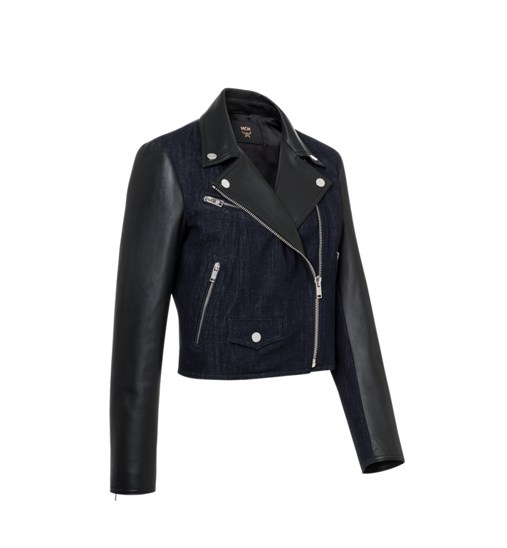 MCM Women's Denim and Leather Rider Jacket AlternateView2