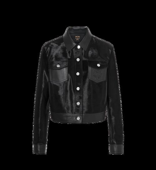 Women's Haircalf Leather Trucker Jacket