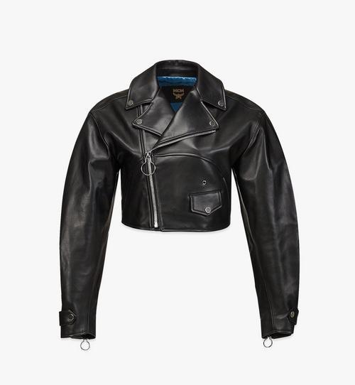 여성용 크롭 가죽 재킷