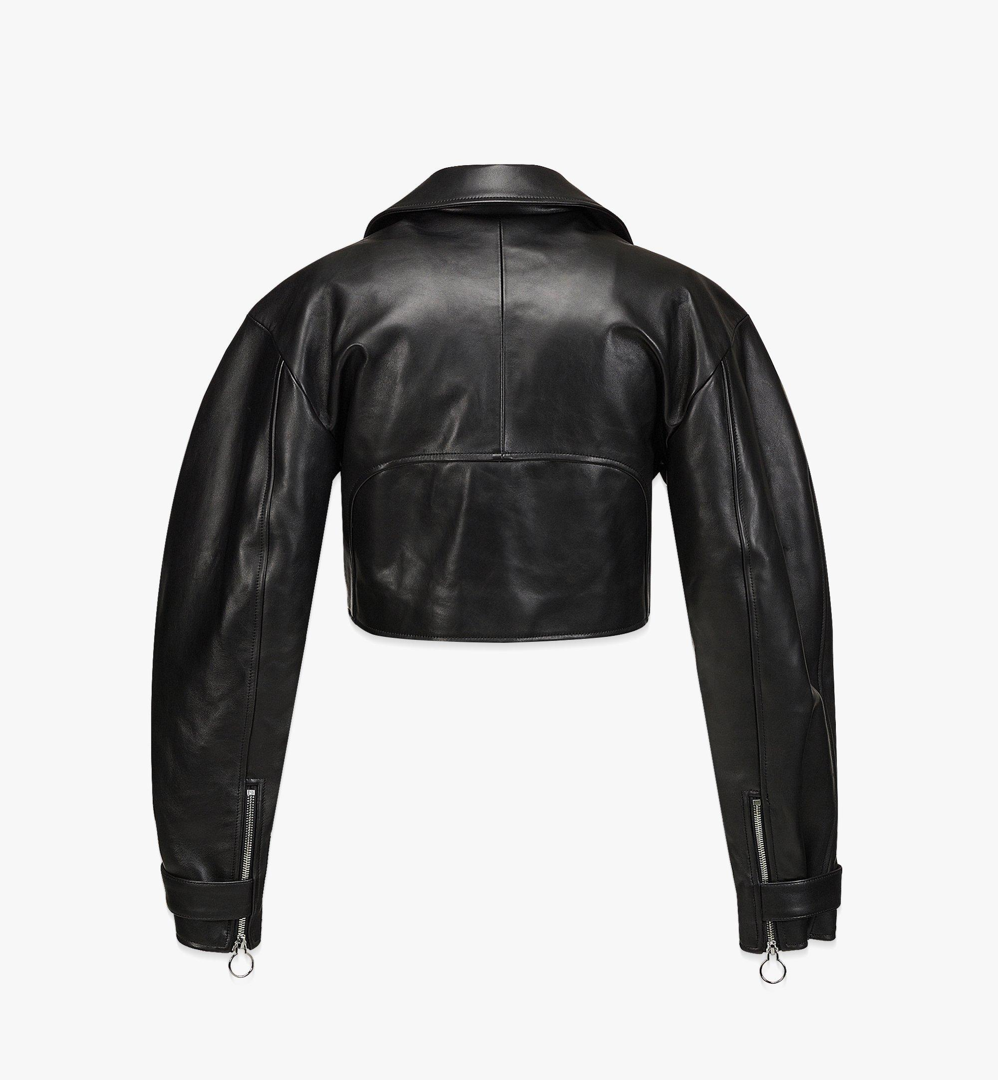 MCM Women's Cropped Leather Jacket Black MFJBAMM02BK038 Alternate View 1
