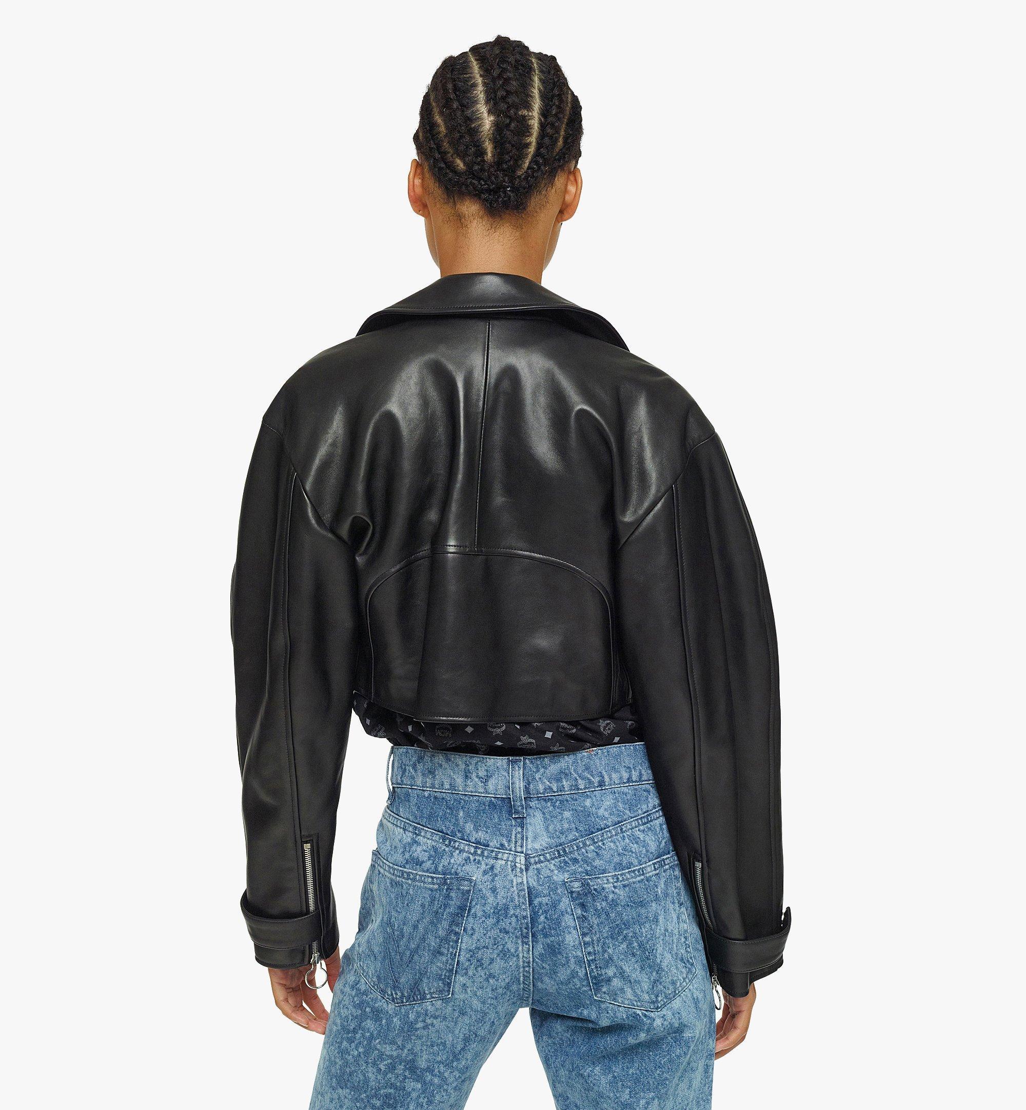 MCM Women's Cropped Leather Jacket Black MFJBAMM02BK038 Alternate View 3