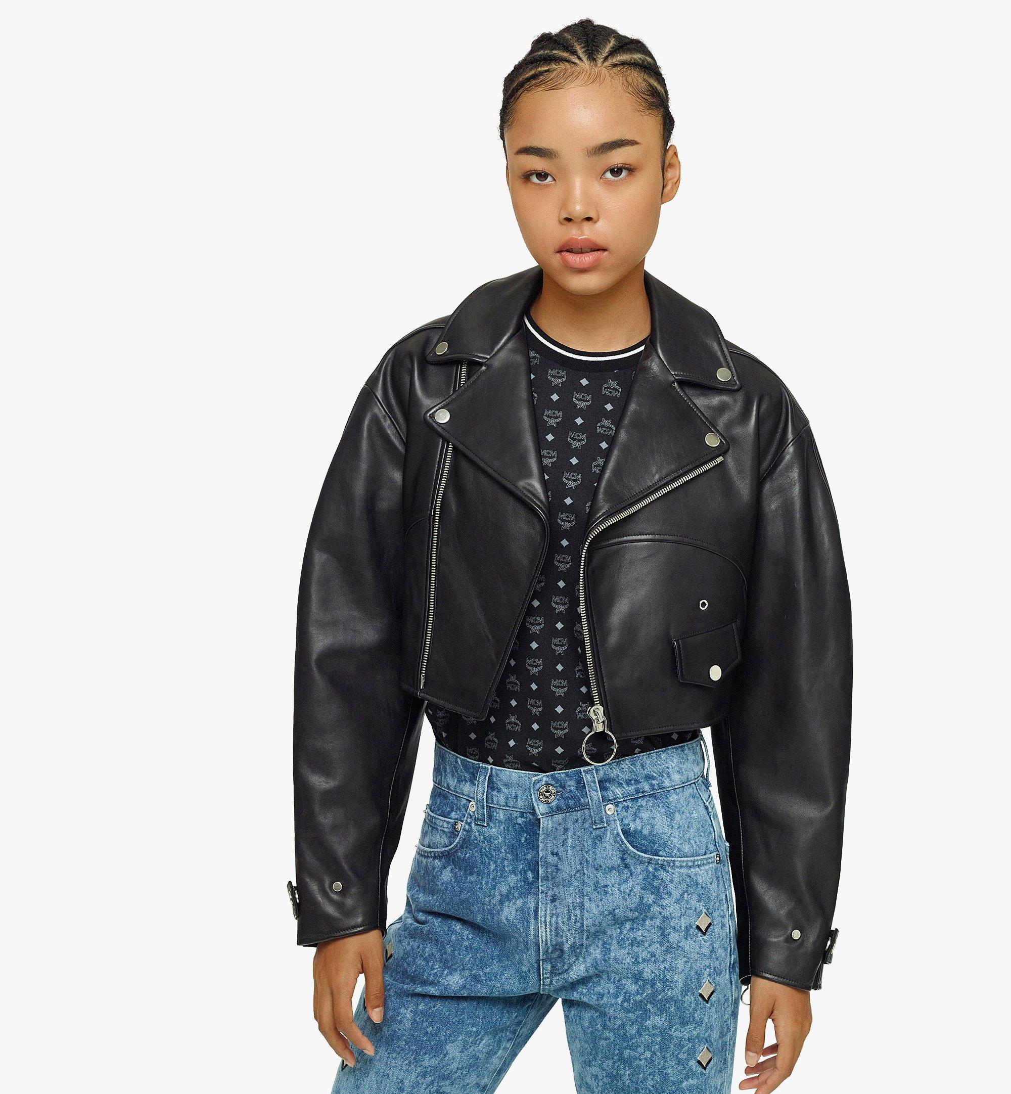 MCM Women's Cropped Leather Jacket Black MFJBAMM02BK038 Alternate View 2