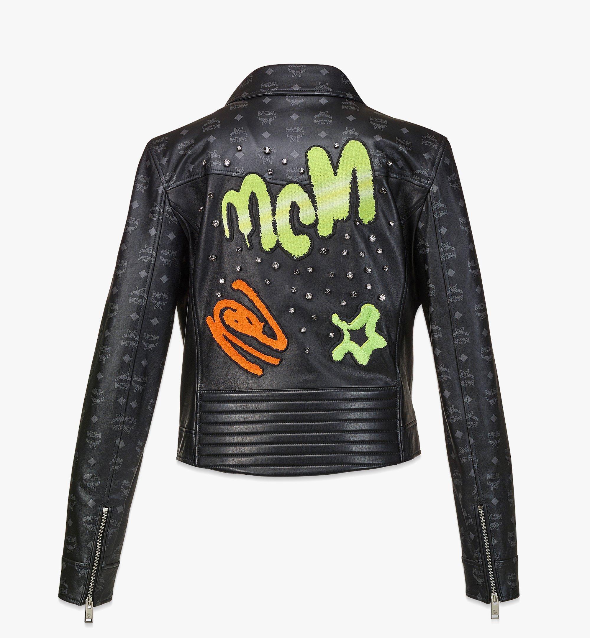 MCM Women's Upcycling Project Monogram Leather Jacket Black MFJBAUP01BK040 Alternate View 1
