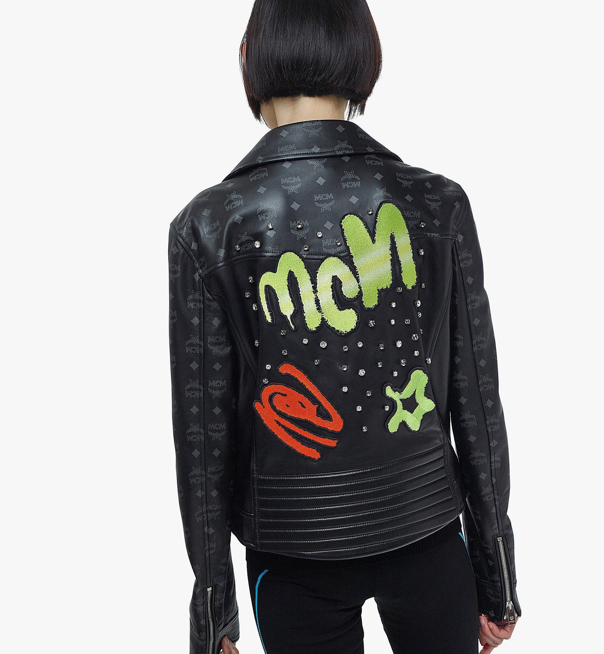 MCM Women's Upcycling Project Monogram Leather Jacket Black MFJBAUP01BK040 Alternate View 2