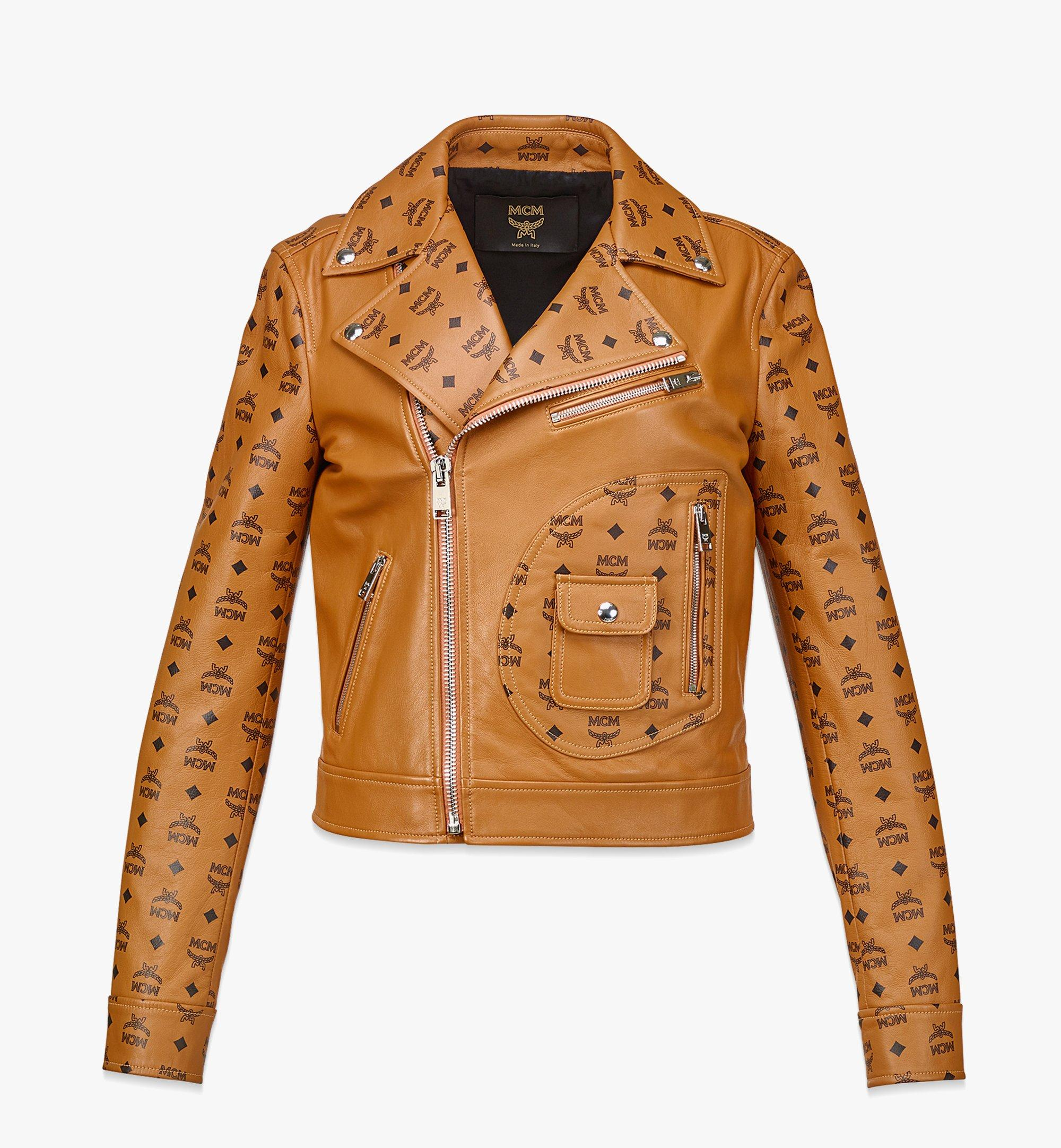 MCM Women's Upcycling Project Monogram Leather Jacket Cognac MFJBAUP01CO040 Alternate View 1