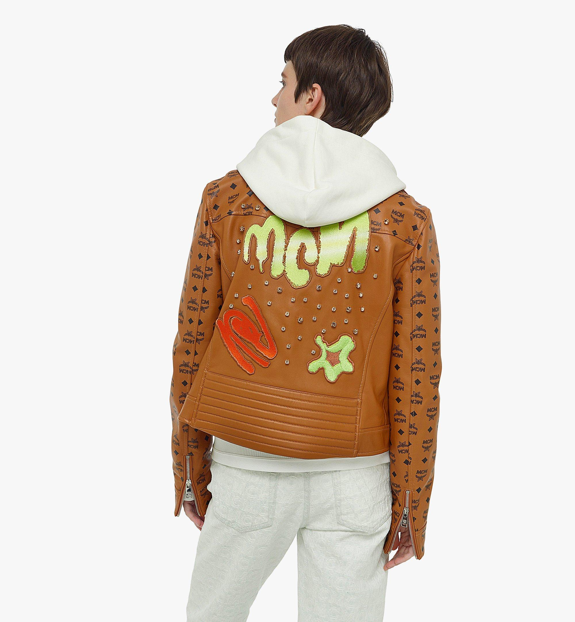 MCM Women's Upcycling Project Monogram Leather Jacket Cognac MFJBAUP01CO040 Alternate View 3