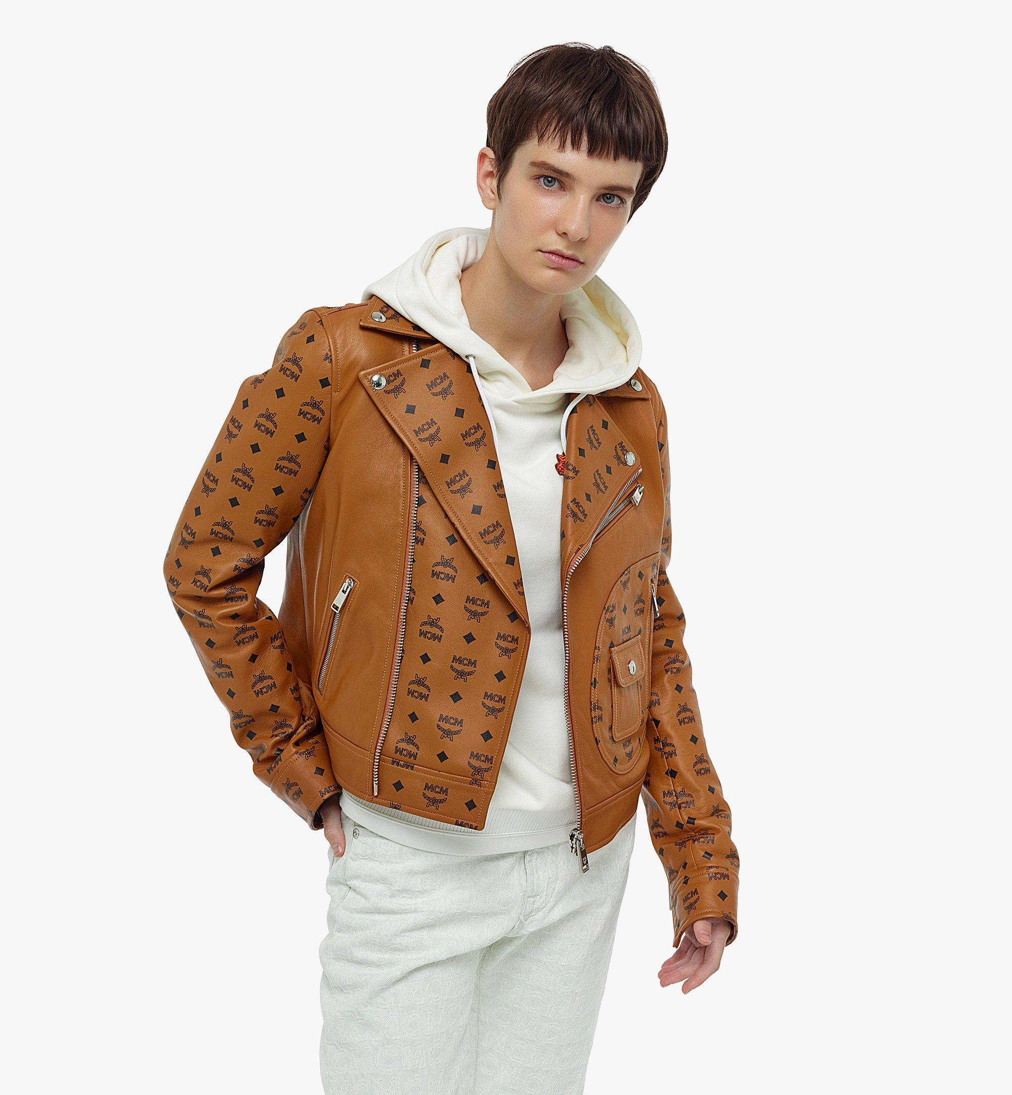 MCM Women's Upcycling Project Monogram Leather Jacket Cognac MFJBAUP01CO040 Alternate View 2