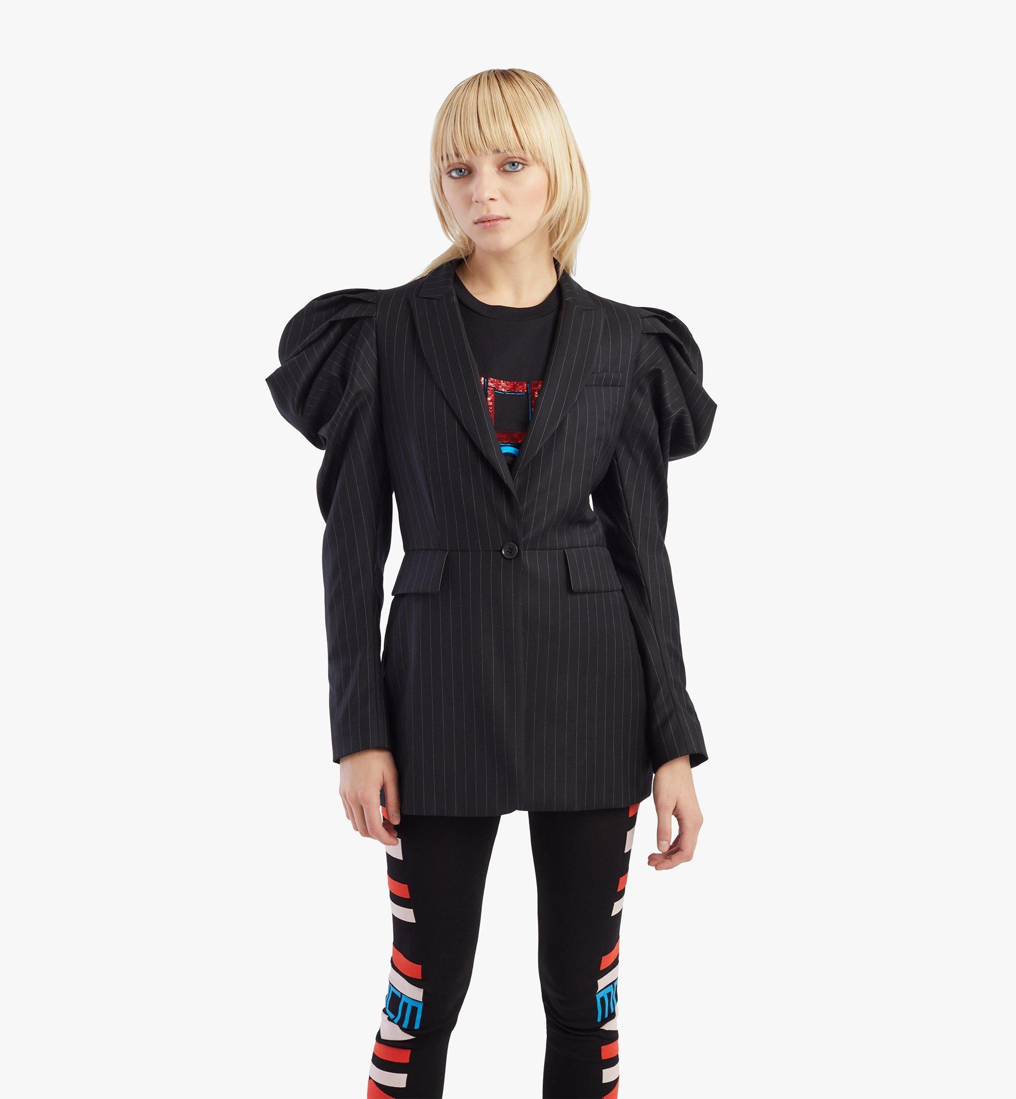 MCM Women's Draped Wool Blazer Black MFJBSMM01B2038 Alternate View 2