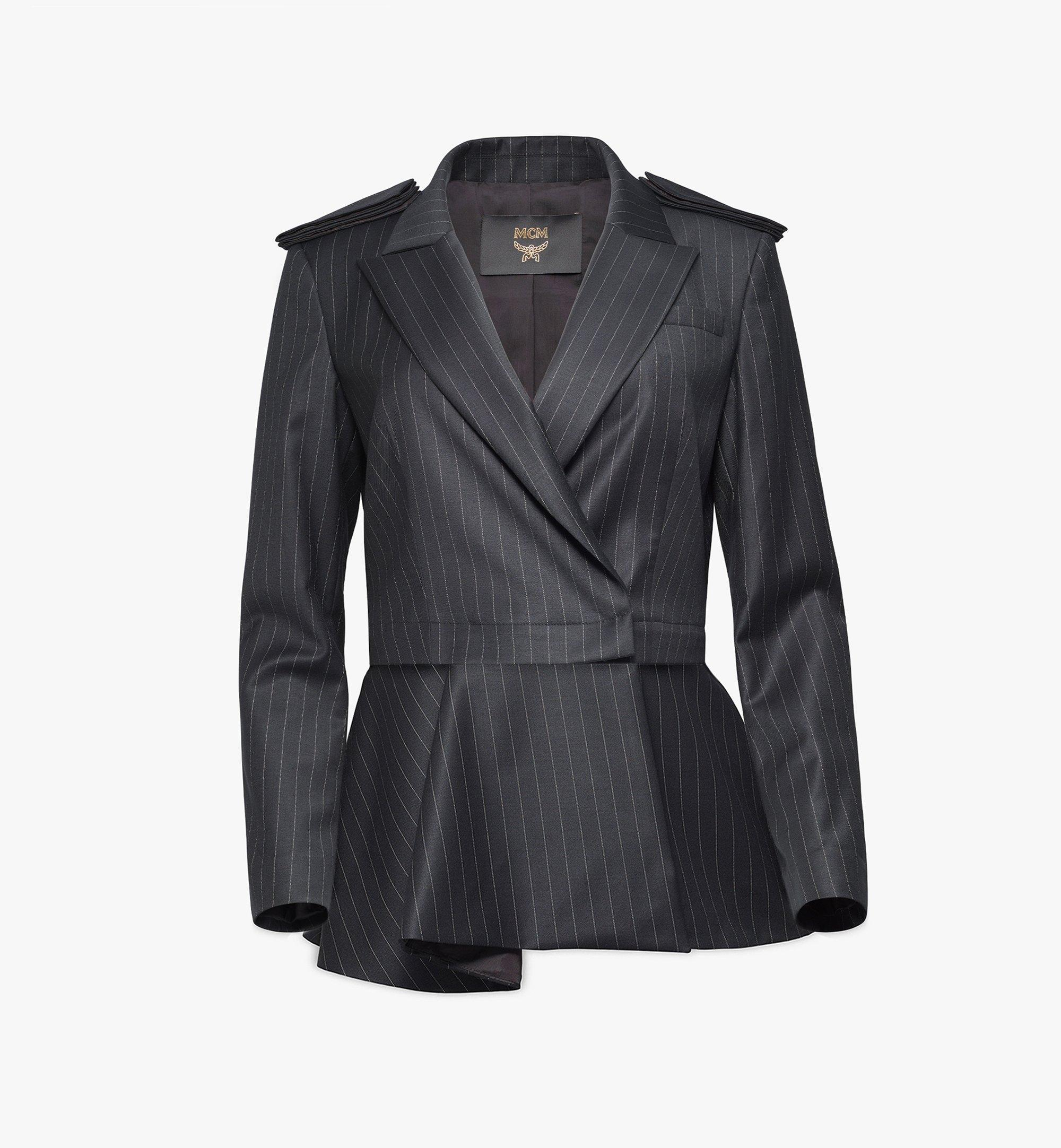 MCM Women's Epaulette Wool Blazer Black MFJBSMM02B2038 Alternate View 1