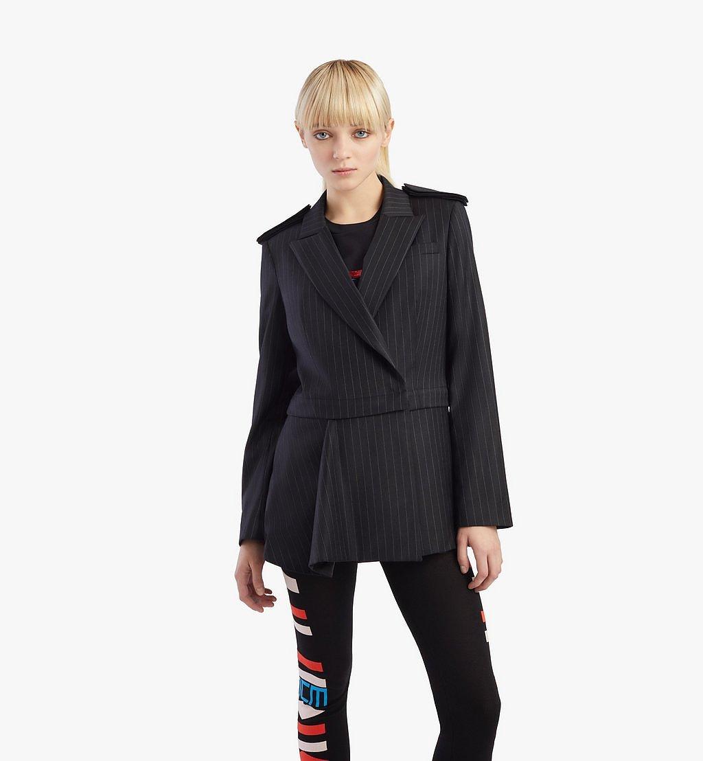 MCM Women's Epaulette Wool Blazer Black MFJBSMM02B2038 Alternate View 2