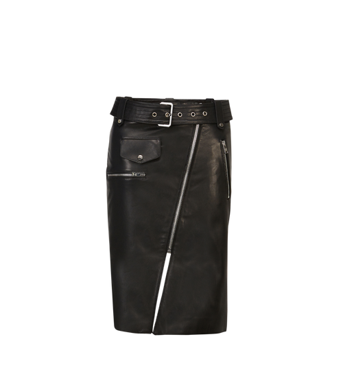 Women's Belted Mini Skirt in Leather