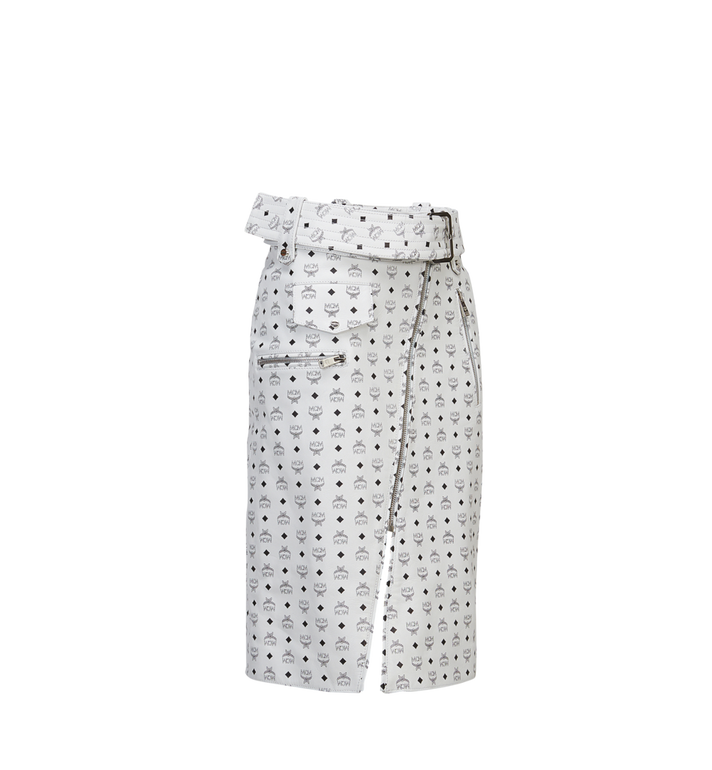 MCM Women's Leather Skirt White MFK8SMM64WI00S Alternate View 2