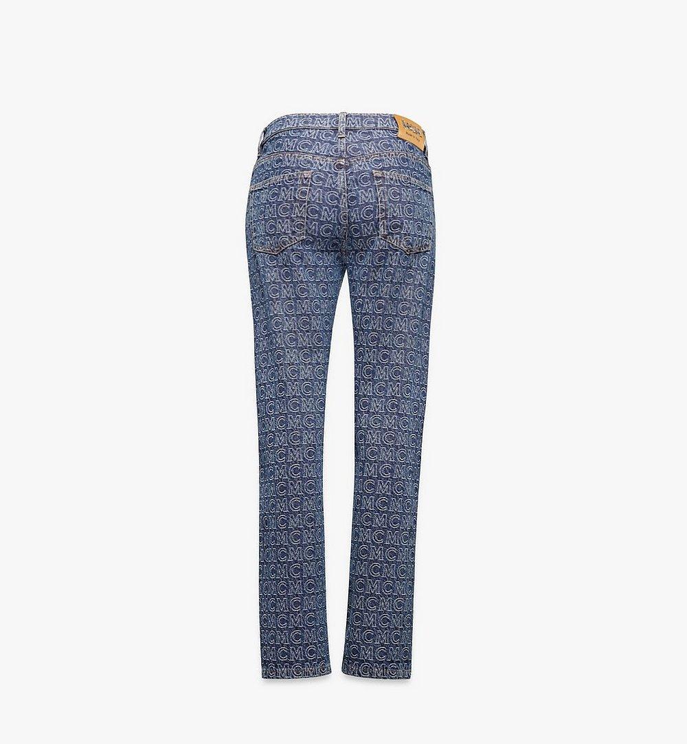 MCM Women's Monogram Straight Leg Jeans Blue MFPAADS01VW038 Alternate View 1