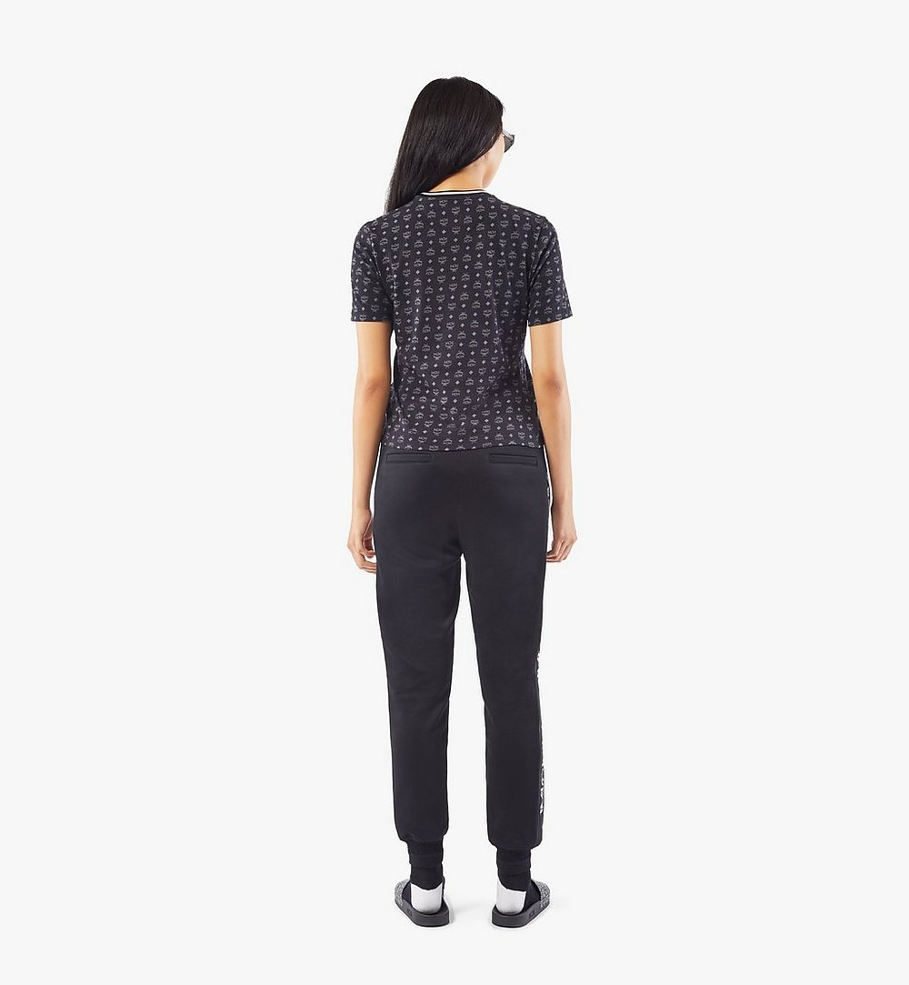 MCM Women's Intarsia Half Logo Sweat Pants Black MFPAAMM07BK00L Alternate View 3