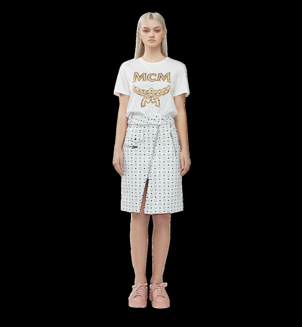 MCM เสื้อยืดโลโก้สำหรับผู้หญิง White MFT8SMM11WI00S มุมมองอื่น 3
