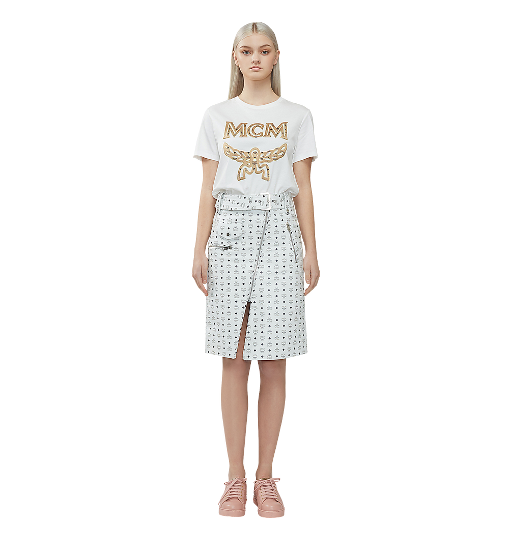 MCM 女士經典標誌 T 恤 White MFT8SMM11WI00S 更多視圖 3