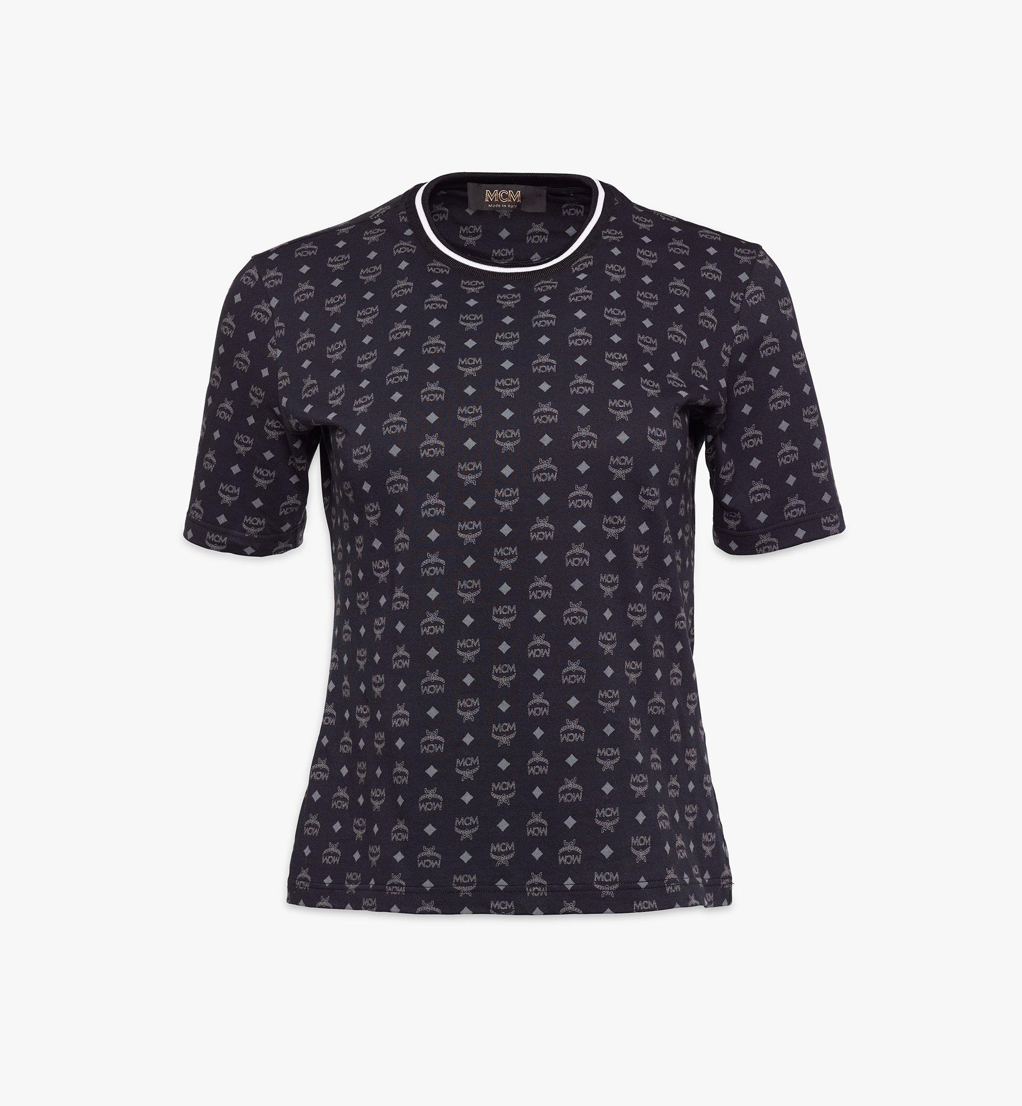 MCM Women's Visetos Print T-Shirt Black MFTAAMM02BK00M Alternate View 1