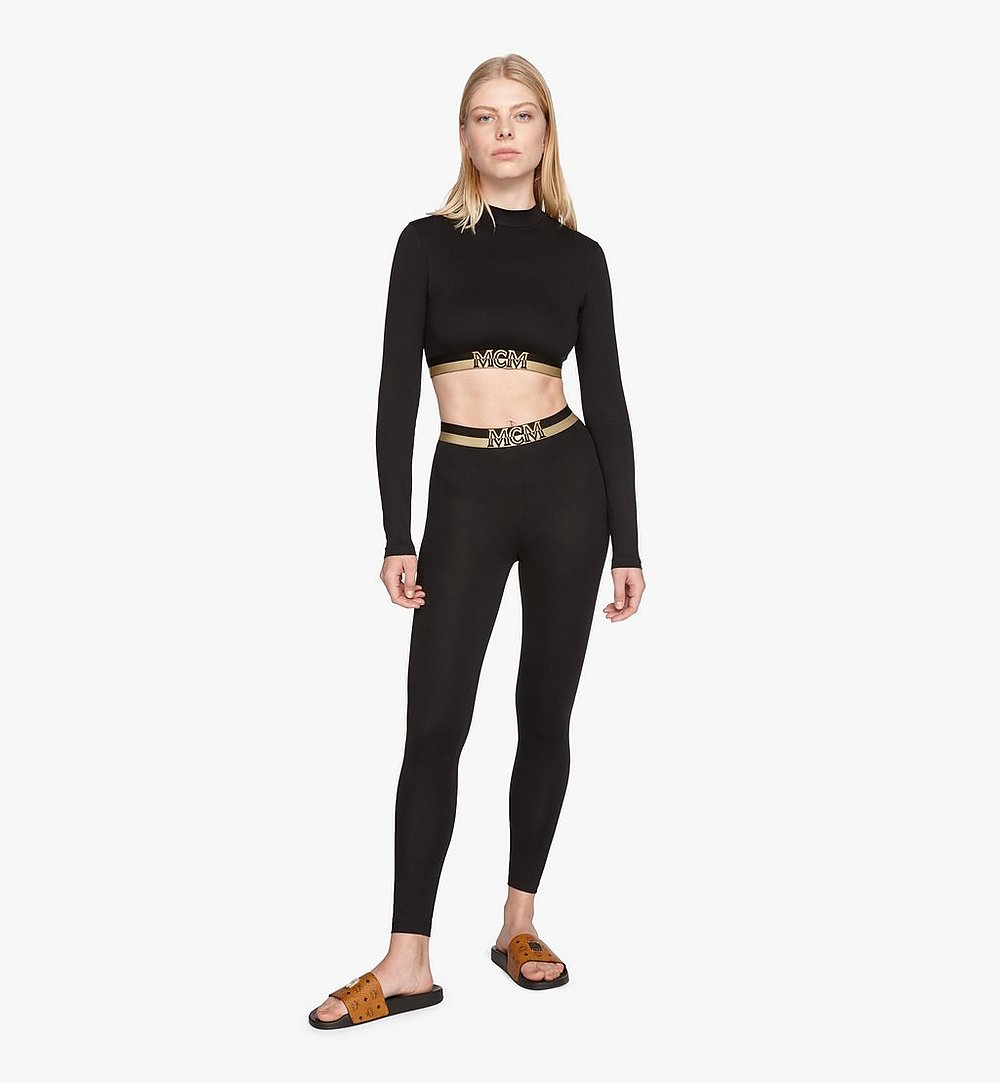 MCM Women's 1976 Crop Top Black MFTASBM01BK00L Alternate View 2