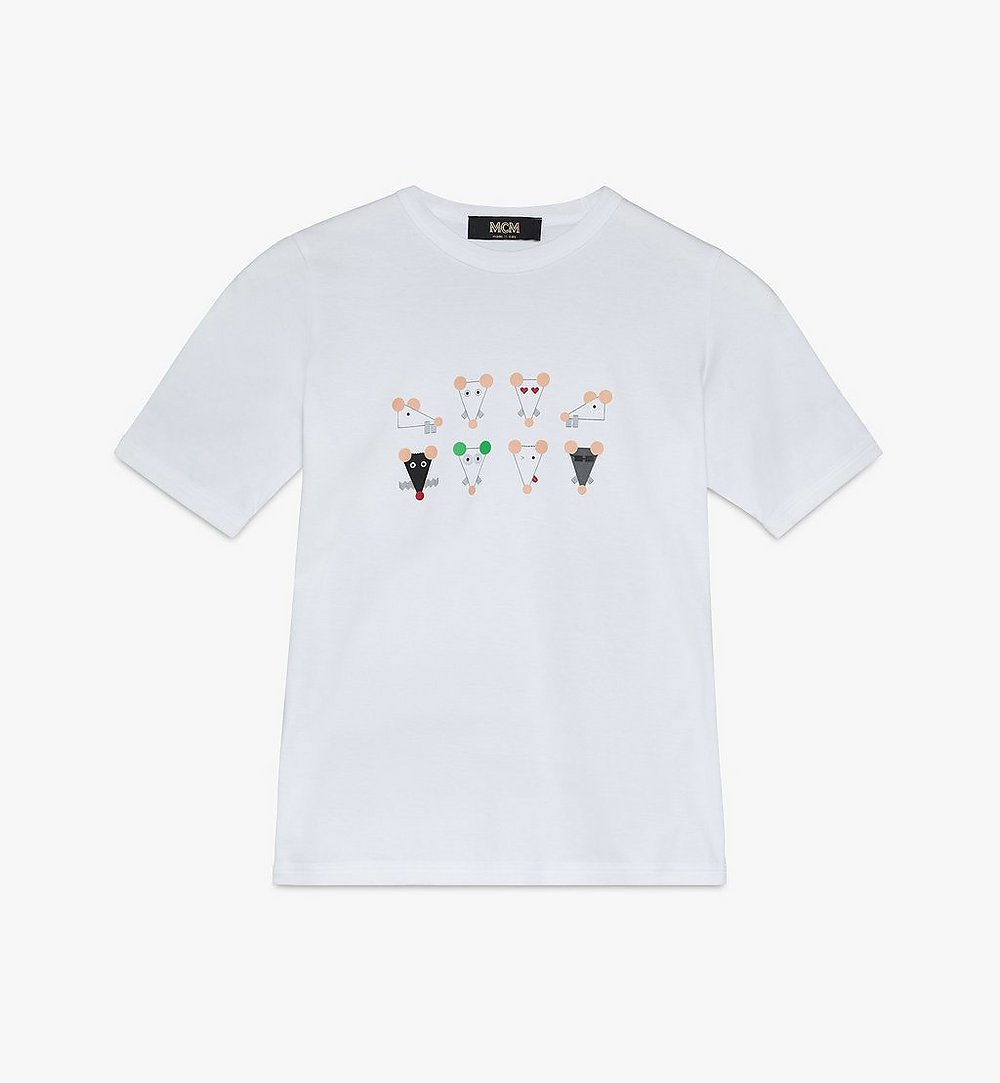 MCM Women's Year Of The Mouse T-Shirt White MFTASSE02WT00S Alternate View 1