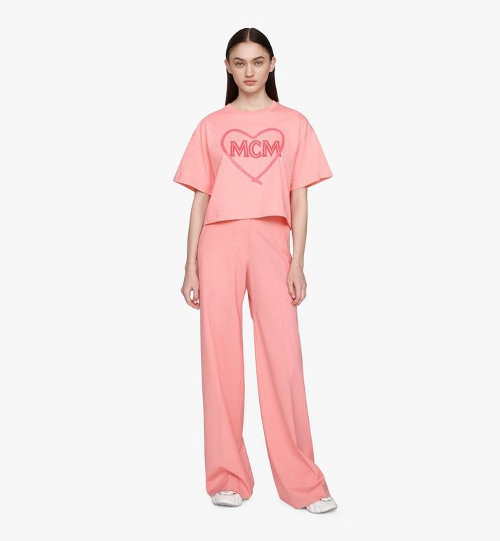 MCM Women's Valentine Crop T-Shirt Pink MFTASXN01QG00L Alternate View 3