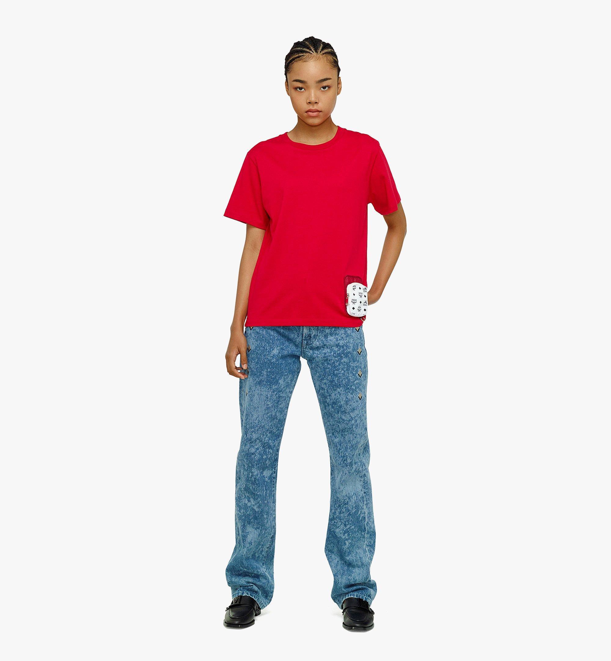 MCM Women's Organic Cotton T-Shirt with Nylon Zip Pocket Red MFTBAMM02R000L Alternate View 3