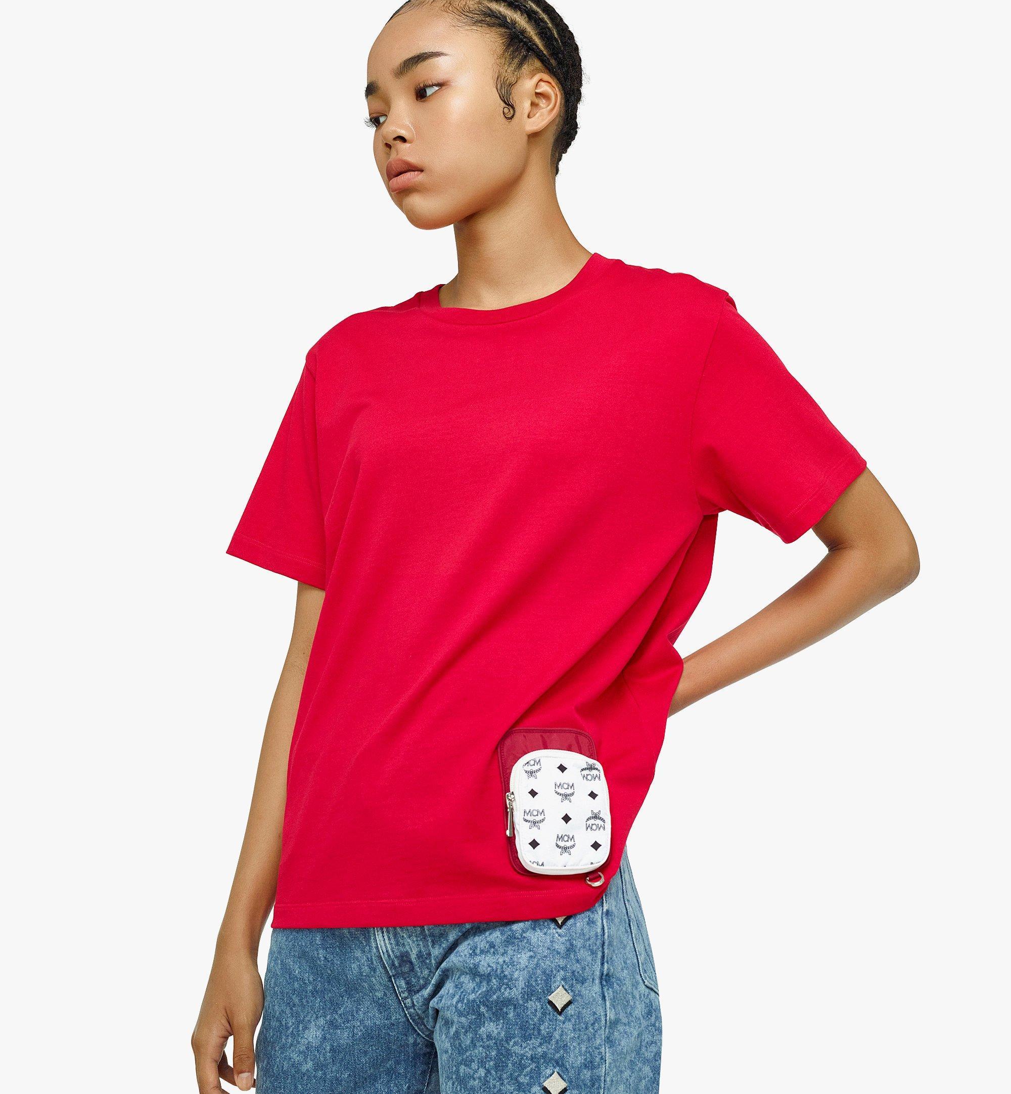 MCM Women's Organic Cotton T-Shirt with Nylon Zip Pocket Red MFTBAMM02R000L Alternate View 2