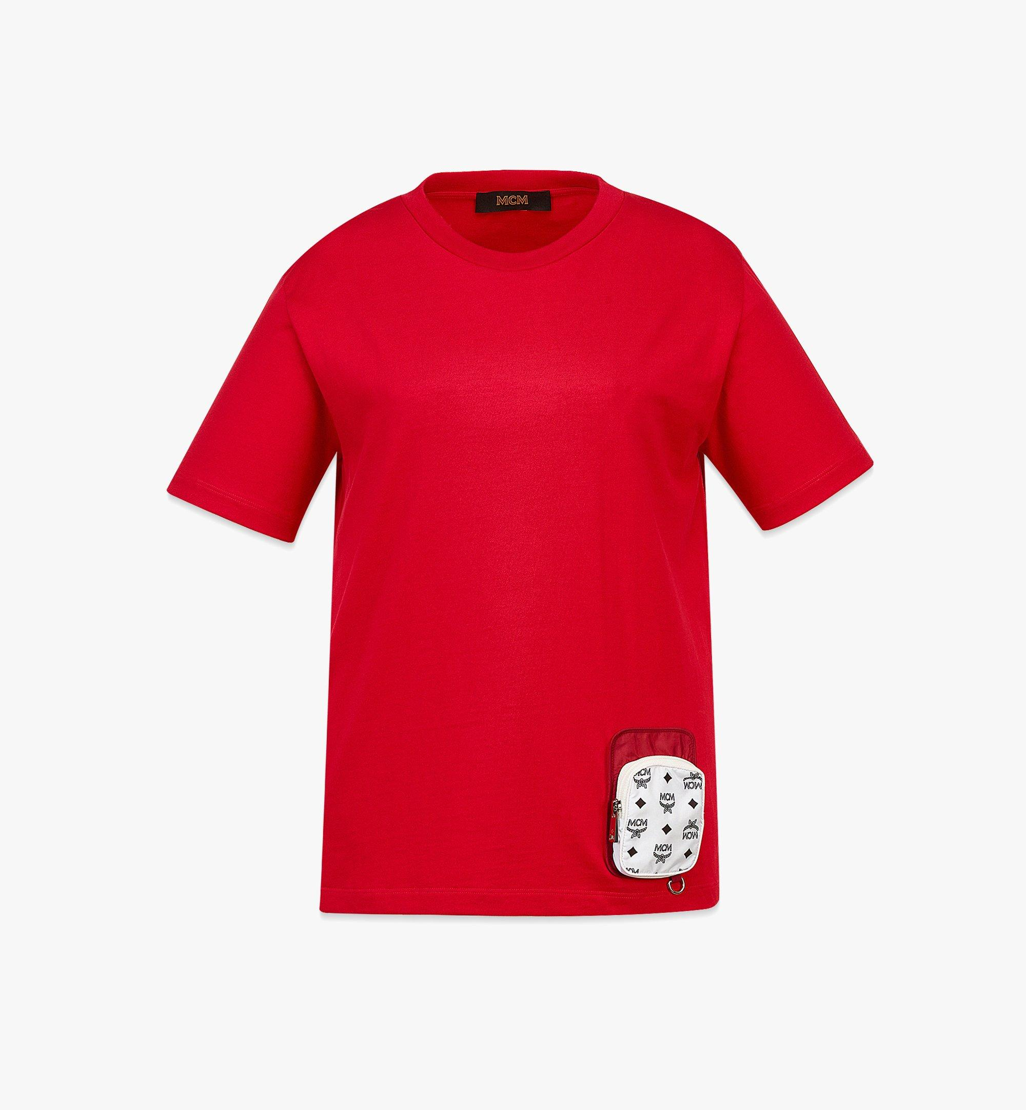 MCM Women's Organic Cotton T-Shirt with Nylon Zip Pocket Red MFTBAMM02R00XS Alternate View 1