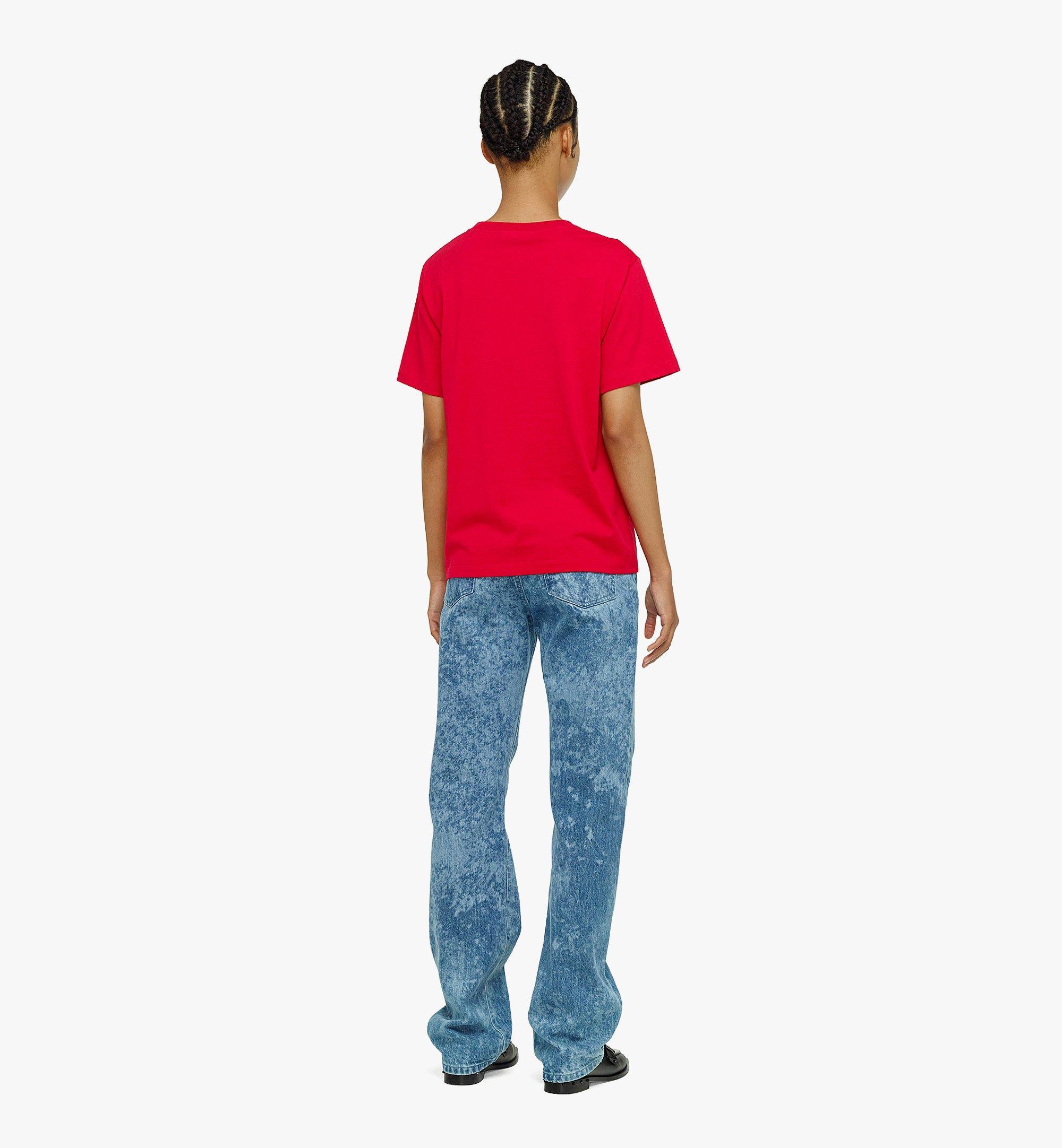 MCM Women's Organic Cotton T-Shirt with Nylon Zip Pocket Red MFTBAMM02R00XS Alternate View 2