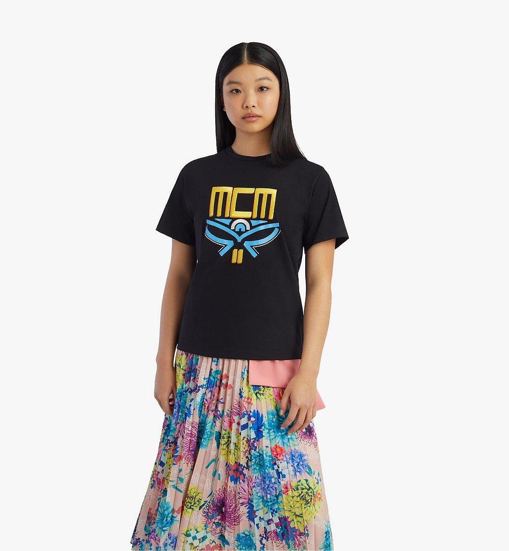 MCM T-Shirt mit geometrischem Lorbeerkranz für Damen Black MFTBSMM05BK00L Noch mehr sehen 2