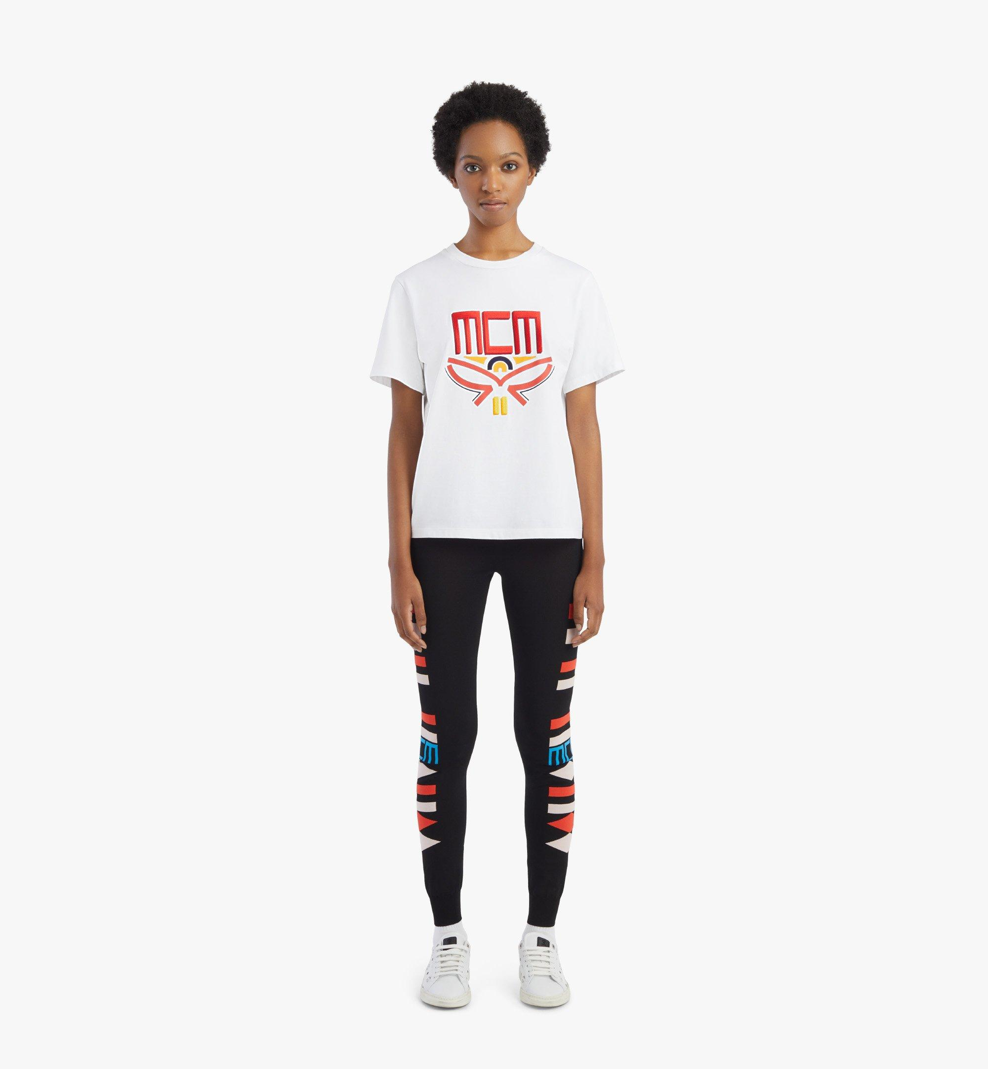 MCM Women's Geo Laurel T-Shirt White MFTBSMM05WT00L Alternate View 3