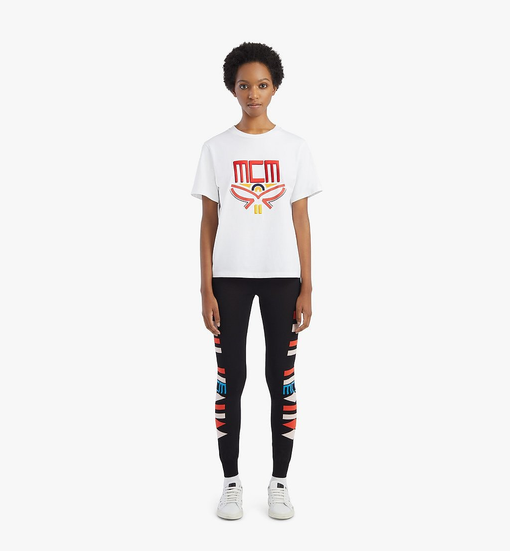 MCM T-Shirt mit geometrischem Lorbeerkranz für Damen White MFTBSMM05WT00L Noch mehr sehen 3