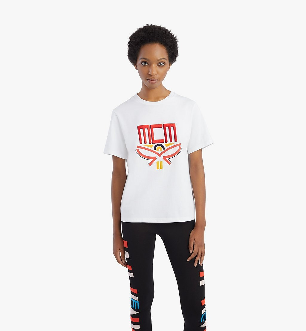 MCM Women's Geo Laurel T-Shirt White MFTBSMM05WT00L Alternate View 2