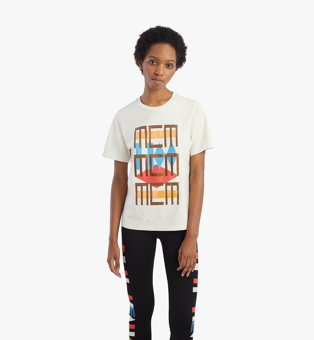 MCM T-Shirt mit geometrischem Graffiti für Damen White MFTBSMM07IO00L Noch mehr sehen 2
