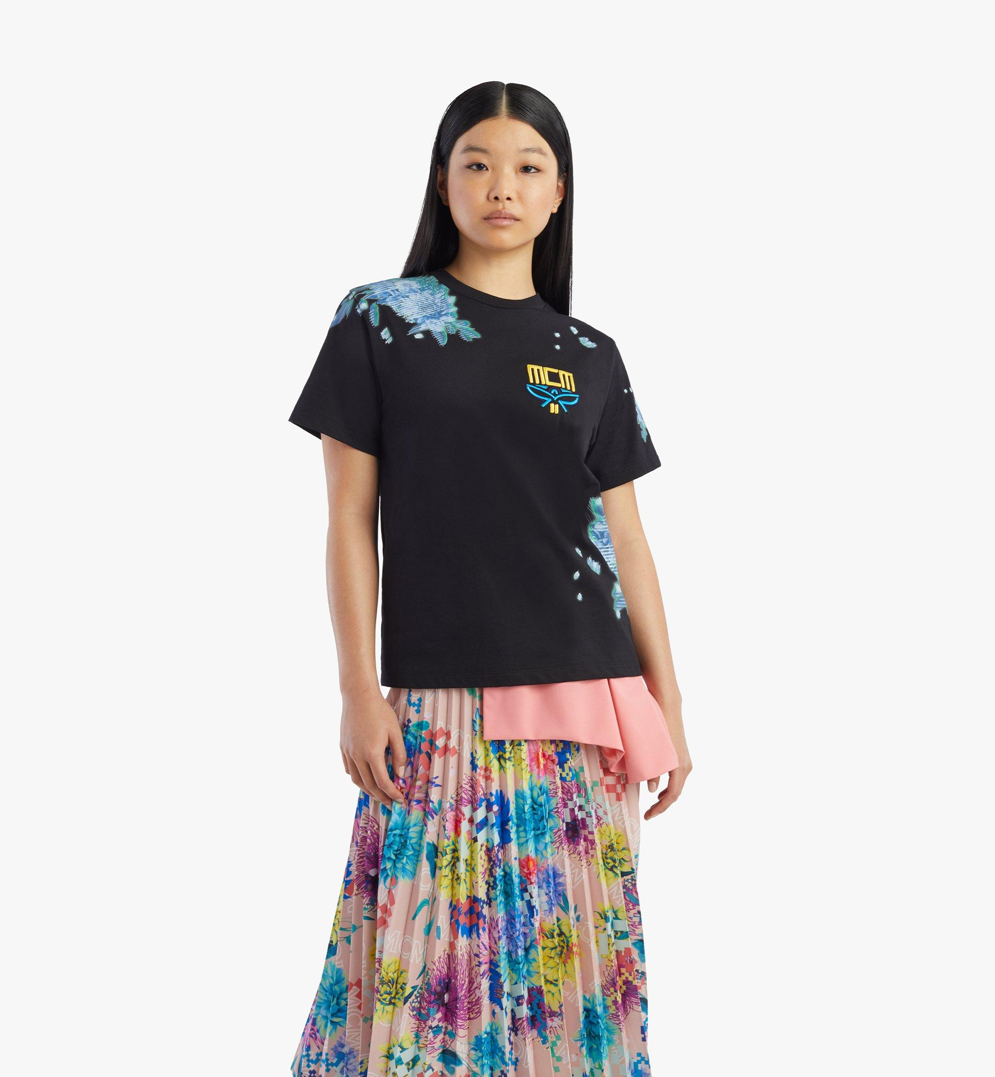 MCM Women's Tech Flower Print T-Shirt Black MFTBSMM09BK00M Alternate View 2