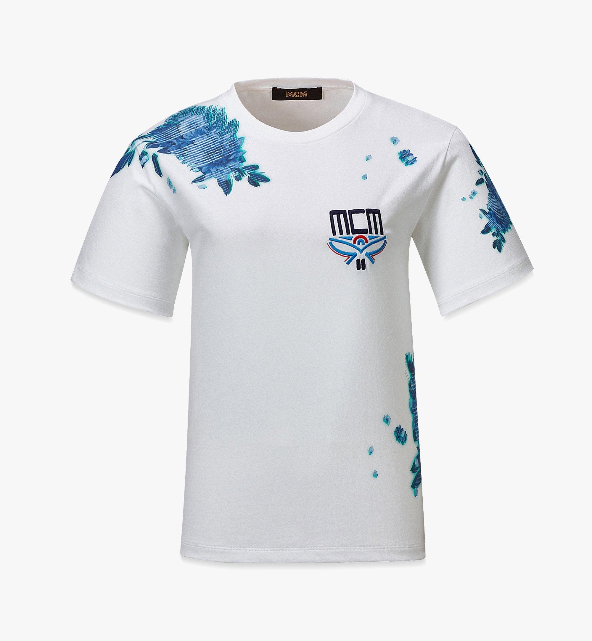 MCM Women's Tech Flower Print T-Shirt White MFTBSMM09WT00L Alternate View 1