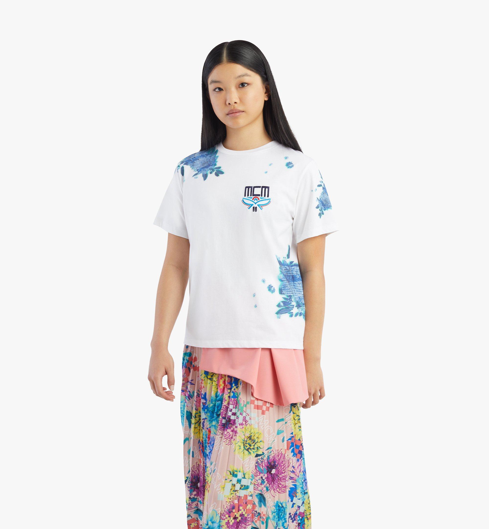 MCM Women's Tech Flower Print T-Shirt White MFTBSMM09WT00L Alternate View 2