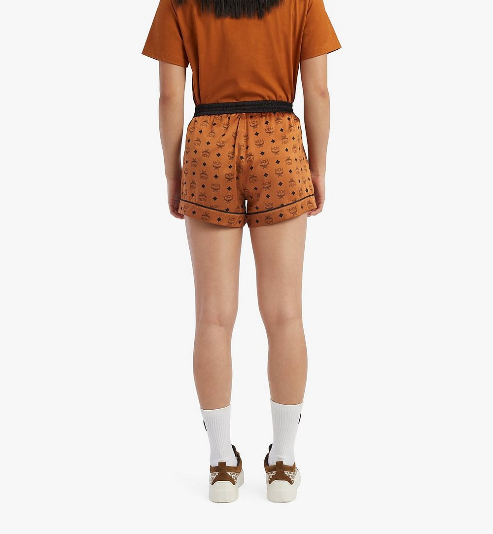 MCM Women's Silk Sleep Shorts Cognac MFXBSMM02CO00M Alternate View 3