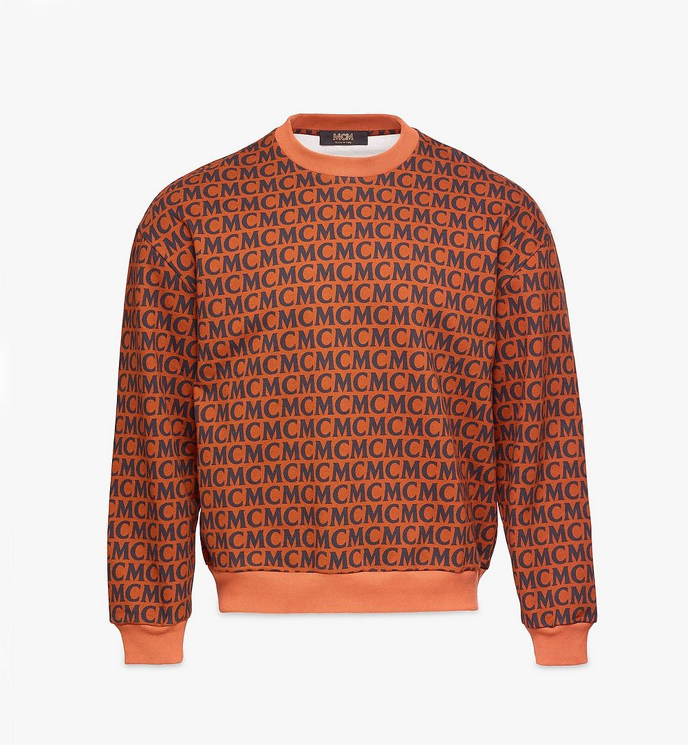 MCM Men's Monogram Sweatshirt Brown MHAAAMD01C400L Alternate View 1